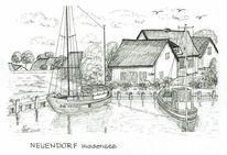 Hiddensee, Neuendorf, Hafen, Mecklenburg