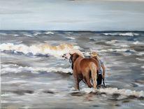 Welle, Landschaftsmalerei, Gischt, Pferde