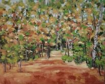Laub, Herbst, Landschaftsmalerei, Wald