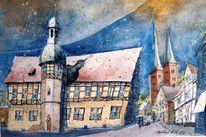 Westfale, Aquarellmalerei, Stadtlandschaft, Rathaus