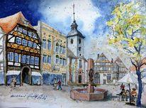 Weserbergland, Fachwerk, Nrw, Aquarellmalerei