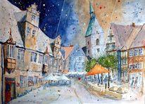 Martinikirche, Stadthagen, Kirche, Aquarell
