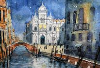 Italien, Venedig, Architektur, Aquarell