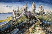 Felsen, Highlands, Isle, Aquarellmalerei