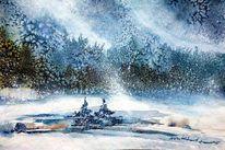 Aquarellmalerei, Winter, Sachsen, Erzgebirge