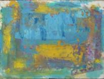 Abstrakter expressionismus, Spachteltechnik, Gelb blau, Abstrakte malerei
