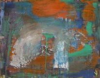 Informel, Grün orange, Abstrakte malerei, Abstrakter expressionismus