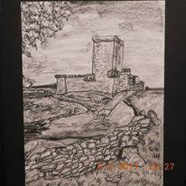 Kohlezeichnung, Burgszene, Naturnahe landschaft, Zeichnungen