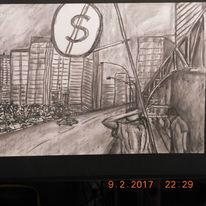 Zeichnung, Straßenszene, Stadtlandschaft, Zeichnungen