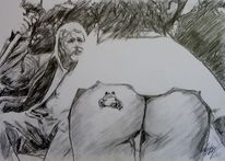 Dame, Esel, Tattoo, Zeichnungen