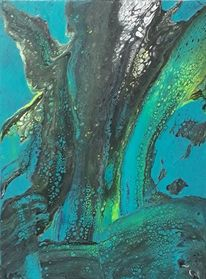 Grün, Schwarz, Blau, Malerei