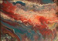 Türkis, Rot, Weiß, Malerei