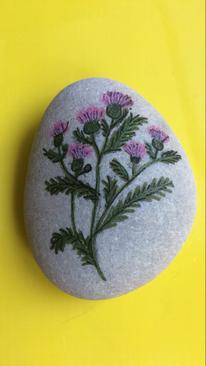 Distelfalter, Stein, Acrylmalerei, Schottland