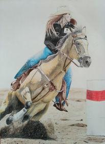 Buntstiftzeichnung, Western, Pferde, Cowboy