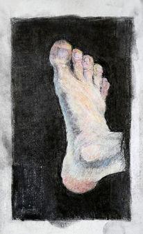 Fuß, Farben, Studie, Buntstiftzeichnung
