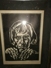 Schwarz weiß, Portrait, Holzdruck, Druckgrafik