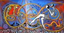Blumen, Malerei acryl, Modern art, Acrylmalerei