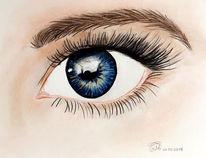 Menschen, Wimpern, Blau, Zeichnung