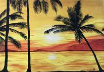 Sonnenuntergang, Strand, Acrylmalerei, Plamen