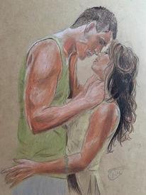 Liebe, Polychromos, Kuss, Zeichnung