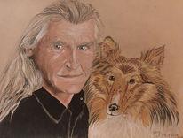 Zeichnung, Hund, Portrait, Arzt