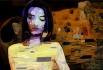 Frau, Traum, Klimt, Digitale kunst