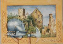 Rüstung, Aquarellmalerei, Burg, Geschichte