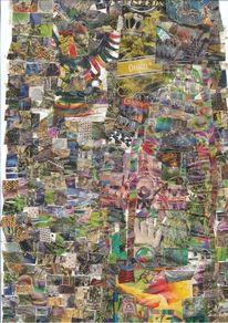 Musik, Collage, Farben, Bunt