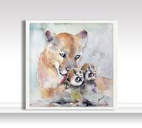 Familie, Malerei, Löwe, Tiere