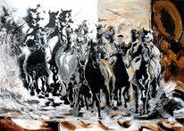 Pferdeportrait, Pferdeherde, Tiere, Abstrakt