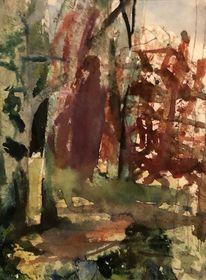 Landschaft, Ewig, Waldrand, Aquarellmalerei