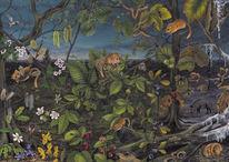 Pflanzen, Buntstiftzeichnung, Natur, Haselmaus