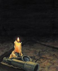 Kerzen, Fernrohr, Acrylmalerei, Dunkel