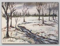Malerei acryl, Kalt, Schnee, Baum