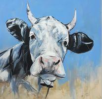 Acrylmalerei, Tiere, Kuh, Malerei