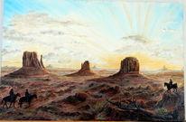 Sonnenuntergang, Monument valley, Wüste, Reiter