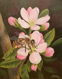 Apfel, Biene, Frühling, Malerei