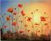 Sonne, Biene, Mohn, Malerei