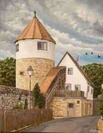 Schwalbe, Turm, Treppe, Mauer
