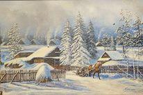 Winter, Schnee, Schlitten, Malerei
