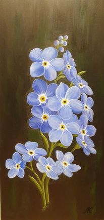 Vergissmeinnicht, Blumen, Blau, Malerei