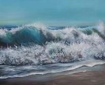 Welle, Strand, Sommer, Blau