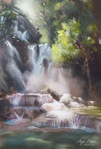 Stein, Blau, Wasserfall, Urwald