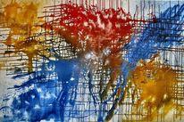 Temperamalerei, Rot, Abstrakt, Gelb