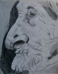 Oma, Frau, Bleistiftzeichnung, Portrait