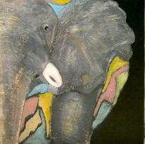 Bunt, Schwergewicht, Elefant, Malerei