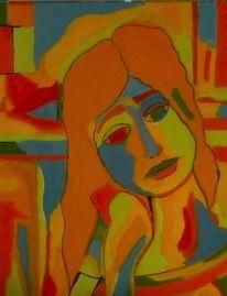 Mädchen, Frau, Orange, Malerei