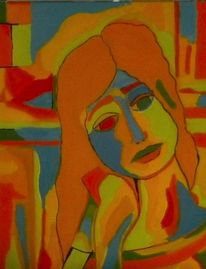 Orange, Malerei, Bunt, Blau