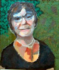 Grün, Frau, Portrait, Malerei