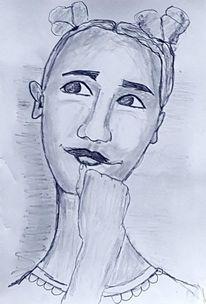 Versonnen, Besinnlich, Gedankenverloren, Zeichnungen